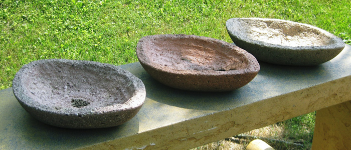 Three Football  Tufa Pots